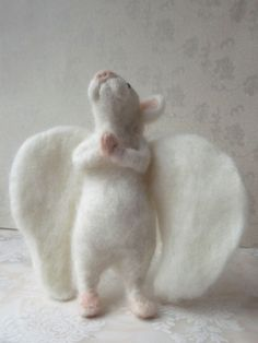 Love, Mrs Plop: Felted OOAK White Mouse Angel Praying Mouse With Wings Handmade