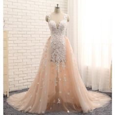 Elegant Soft Peach Tulle with Lace Appliques, Two piece Wedding... ($195) ❤ liked on Polyvore featuring dresses, gowns, prom ball gowns, pink dress, peach prom dresses, pink lace dress and 2 piece prom dresses