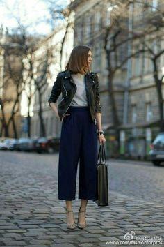 皮衣+阔腿裤(胯窄,金发)