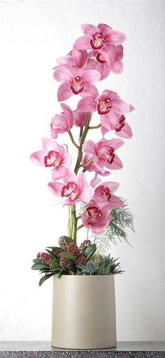 Flower arrangement with cymbidium orchids #Floral #Arrangement #orchids #cymbidium orchids