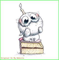 Birthday Cute art by Chris Ryniak - Chris Ryniak Cute Monsters Drawings, Cartoon Monsters, Cute Animal Drawings Kawaii, Kawaii Drawings, Cartoon Drawings, Cartoon Art, Doodle Monster, Monster Drawing, Monster Art