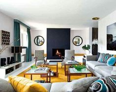 teal paint for office | this interior on Nuevo Estilo. I like the pops of mustard and teal ...