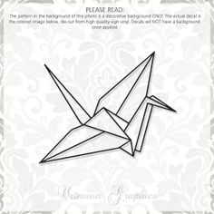 Origami Paper Crane Vinyl Window Decal by CrimsonGraphic on Etsy, $7.00 #papercrane #origami #decal #etsy