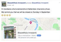 Vi ricordiamo che le domeniche di Settembre rimarremo chiusi. We remind you that we will be closed on Sunday in September. -------------------Biscottificio Innocenti, Roma, Domenica, Chiusura, Settembre-----
