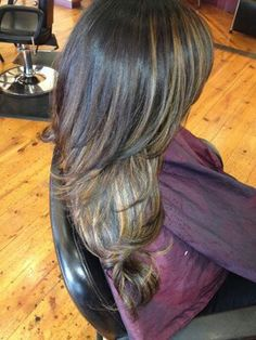 caramel balage highlights in dark hair.