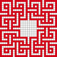 This is a bead pattern but again, I see a quilt pattern with a fussy-cut center! Form Crochet, Granny Square Crochet Pattern, Crochet Diagram, Crochet Chart, Crochet Squares, Diy Crochet, Cross Stitch Designs, Cross Stitch Patterns, Knitting Patterns