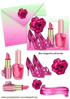 SHADES OF PINK WITH SHOES AND ROSE ON CARD ENVELOPE on Craftsuprint - Add To Basket!