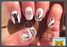My Sochi 2014 Olympics mani.  Nail Stamping.  Olympics Nails.  Sochi 2014 nails.  Winter Olympics 2014.  Sochi Olympics nails.