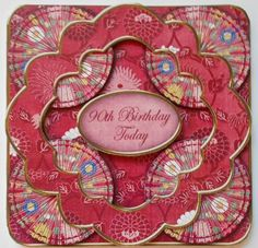 Red Oriental Flower 90th Birthday 3D Rosette Topper on Craftsuprint designed by Ann-marie Vaux - made by Eunice Roberts - I printed and cut out this file and stuck the base card on to card stock. I then assembled the decoupage on to the card. - Now available for download!