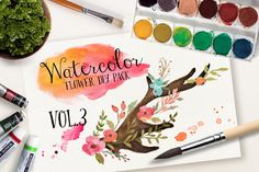 Check out Watercolor flower DIY pack Vol.3 by Graphic Box on Creative Market