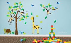 Monkey Tree Birds Animal Nursery Jungle Children Art Wall Stickers Wall Decals by stickerlove2 on Etsy https://www.etsy.com/nz/listing/175486808/monkey-tree-birds-animal-nursery-jungle