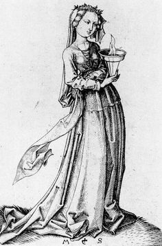 'The Fourth Wise Virgin', 1483, copper engraving by Martin Schongauer, Museum of Fine Arts, Budapest, Hungary (artrenewal.org)