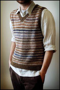 Striped Vest in Handspun and Recycled Tweed Knitting Yarn, Knitting Patterns, Crochet Men, Knit Vest Pattern, Knitwear, Men Sweater, Clothes, Brooklyn Tweed, Moda Masculina