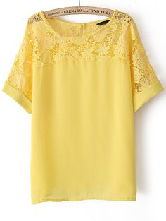 Yellow Short Sleeve Lace Hollow Chiffon Blouse - Sheinside.com
