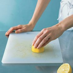 Lemon as Cutting Board Cleaner To remove tough food stains from light wood and plastic cutting boards, slice a lemon in half, squeeze onto the soiled surface, rub, and let sit for 20 minutes before rinsing. The best part? You'll have a house that smells like a lemon grove rather than chemicals.