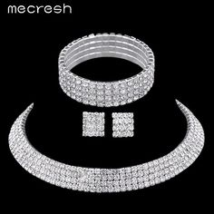 Mecresh Crystal Bridal Jewelry Sets Silver Plated Rhinestone Bracelets Earrings Necklace Women Wedding Jewelry Sets TL299+SL116