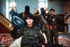 Some of Arkan's Tigers posing in a captured mosque during heavy fighting inside of Bosnia. #RemoveKebab