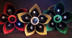 Set of 3 Kusudama flower glitter Christmas ornaments/package toppers   by TheCornerPaper on Etsy