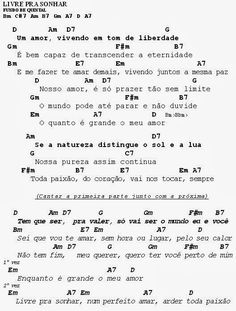 MEU CAVAQUINHO: Cifra - Livre Pra Sonhar - Fundo de Quintal Sheet Music, Banjo, Math Equations, Guitar, Rook, Pictures, Music Sheets, Banjos