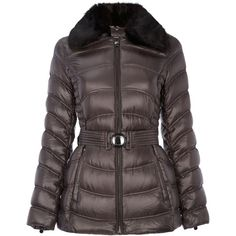 Dawn Levy Detachable faux fur collar jacket ($195) ❤ liked on Polyvore featuring outerwear, jackets, clearance, grey, faux fur collar jacket, grey jacket, zipper jacket, belted down jacket and down jacket