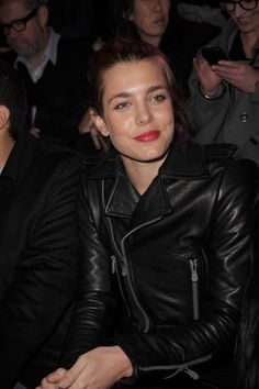 Charlotte Casiraghi: Red Lips and Leather Jacket