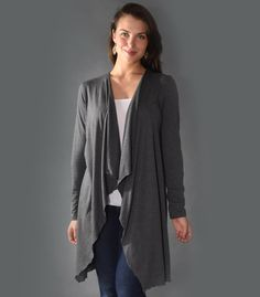 STEPHANIE open duster cardigan in Charcoal Grey (XS)