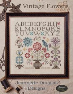 Vintage Flowers is the title of this cross stitch pattern from Jeanette Douglas Designs.