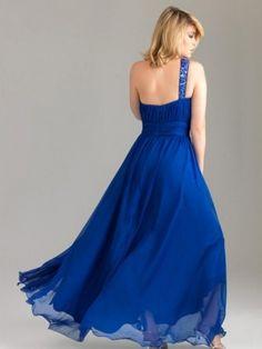 A-Linie Asymmetrisch Bodenlänge Chiffon Abendkleidung Blau
