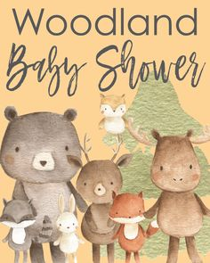 The ultimate guide to throwing the perfect woodland themed baby shower! We cover decorations, games, cake ideas, and more. Baby Shower Game Prizes, Baby Shower Games Unique, Cute Baby Shower Ideas, Baby Shower Crafts, Simple Baby Shower, Baby Shower Flowers, Baby Shower Activities, Baby Shower Themes, Baby Boy Shower