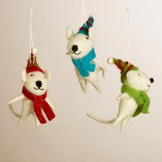 Holiday - Felt Mice Ornaments, Set of 3 $17.97| Earn Cashback when you shop at WorldMarket.com! Sign up with DubLi for FREE at www.downrightdealz.net and GET PAID for all your online shopping!