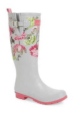 Joules 'Welly'PrintRain Boot (Women) Short Heel Boots, Slip On Boots, Pull On Boots, Knee High Boots, Cute Rain Boots, Cute Shoes, Me Too Shoes, Rubber Rain Boots, Joules Boots