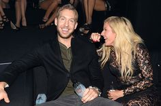 Calvin Harris and Ellie Goulding pose in the VIP Glamour Pit during the MTV EMA's 2013 on November 10, 2013 in Amsterdam, Netherlands.