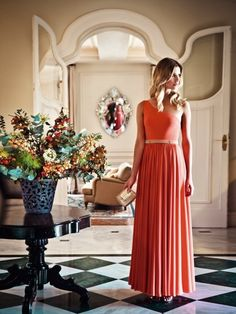 One Shoulder Coral Maxi (Not to mention the decor is faaaabulous)