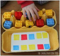 Inspiration Montessori: Matching game with Lego and egg carton. Motor Skills Activities, Montessori Activities, Preschool Learning, Fine Motor Skills, Fun Learning, Learning Activities, Preschool Activities, Learning Skills, Montessori Materials