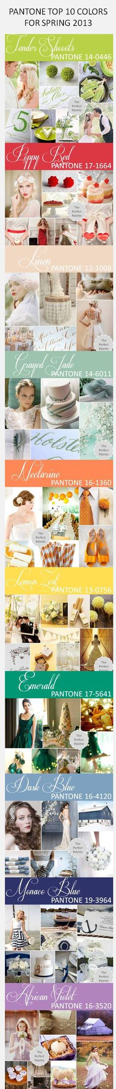 PANTONE TOP 10 COLORS FOR SPRING 2013 http://www.theperfectpalette.com/2012/10/pantone-fashion-color-report-spring-2013.html