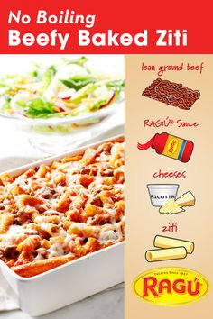 Warm up those chilly kids with our Beefy Baked Ziti. This hearty fall recipe stars the famous cheese trio: Ricotta, Parmesan & Mozzarella! And Ragù Sauce, of course. The smell? AMAZING. The taste? DELICIOSO.