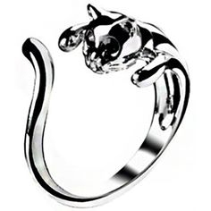Mikiy Women's Fashion Style Lovely Cat Open Alloy Ring(Silver) ($4.97) ❤ liked on Polyvore featuring jewelry, rings, silver rings, cat ring, silver cat ring, silver jewellery and cat jewelry