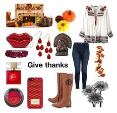 """Thanksgiving look"" by abbyisqueen ❤ liked on Polyvore featuring Roman, J Brand, NYX, Style & Co., MICHAEL Michael Kors, Kate Spade and H&M"