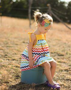 Girls Dress. Chevron Summer Dress for Girls.. $35.00, via Etsy.