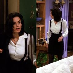 Courtney Cox as Monica Geller on Friends, Episode 1.21 (The One with the Fake Monica). Wearing: Silver Necklace | White Collar Button Down Shirt | Black Pencil Skirt | Black Suspenders | Black Tights.