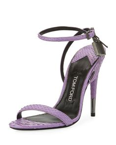 Shop Python Padlock Ankle-Wrap Sandals, Lilac from TOM FORD at Neiman Marcus Last Call, where you'll save as much as on designer fashions. Ankle Wrap Sandals, Ankle Strap Shoes, Open Toe Shoes, Strappy Sandals Heels, Strap Heels, Strap Sandals, Tie Shoes, Women's Shoes, Tom Ford Shoes