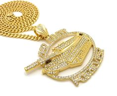 ICED OUT NO LIMIT FOREVER PENDANT & BOX CUBAN CHAIN HIP HOP NECKLACE