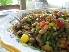 Garlicky Two Bean Salad Smoothie Recipes, Salad Recipes, Smoothies, Italian Green Beans, Advocare Recipes, Green Bean Recipes, Bean Salad, Salad Bar, Veggie Dishes