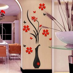 DIY Vase Flower Tree Crystal Arcylic Wall Stickers Decal Home Vinyl Decor Wall Stickers Hallway, Wall Stickers Home Decor, Wall Decals, Vinyl Decor, Vinyl Art, Decor Mural, Home Decor Vases, Diy Home Decor, Flower Wall