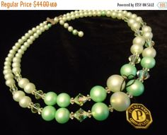 Cyber Monday Sale Vintage Necklace New Old Stock with Tag PearlCraft Original Mid Century Chunky Collectible Green Lucite 1950s 1960s Retro by MartiniMermaid on Etsy https://www.etsy.com/listing/192976685/cyber-monday-sale-vintage-necklace-new