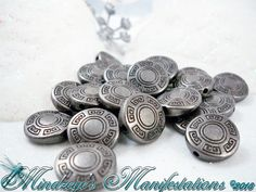 {50} Antiqued Gun Metal Finish Flat Round Beads 13mm. Starting at $5 on Tophatter.com!
