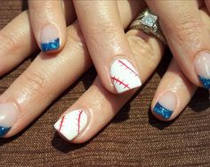 Love the diagonal placement of the laces on the nail. Baseball Nail Designs, Baseball Nail Art, Softball Nails, Baseball Mom, Baseball Stuff, Baseball Playoffs, Hockey Mom, Fancy Nails, Love Nails
