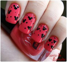 Minnie Mouse Nails Design With Pink Base Color Short Nail Designs, Cute Nail Designs, Acrylic Nail Designs, Minnie Mouse Nails, Mickey Nails, Cute Nails, Pretty Nails, Disney Acrylic Nails, Nail Art Images