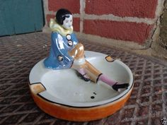 VINTAGE NORITAKE ART DECO LUSTERWARE FIGURAL PIERROT THE CLOWN ASHTRAY DISH OLD