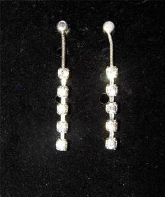 Gorgeous Sterling Silver Dangle Earrings with White Stones IA5